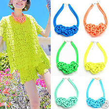 Candy Pure Handmade Cotton Choker Rope Knit Chunky Necklace Fluorescent Neon dj*