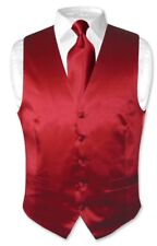 Biagio Men's Solid DARK RED SILK Dress Vest NeckTie Set