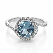 round aquamarine clear cz curved 925 silver band engagement ring size 5 -10