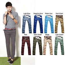 Men's New Candy Color Slim Stretchy Pencil Pants Casual Skinny Jeans Trousers