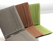 Saffiano Leather Suede Mens Wallet Money Clip Billfold Credit Card Holder 3Color