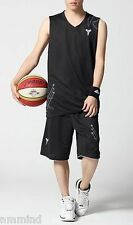 Men's S M L Black White Ultra Cooling Basketball Jersey Tee Shorts Set (3 Sizes)