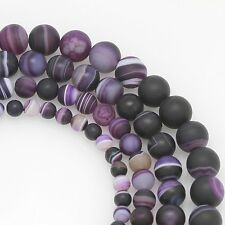 "Matte Purple Dream Agate Loose Gemstone Beads Round 15.5"" 6mm 8mm 10mm 12mm"