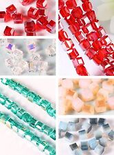 Hot Colorized 95/475pcs Faceted Glass Crystal Cube Charm Loose Spacer Bead 8676