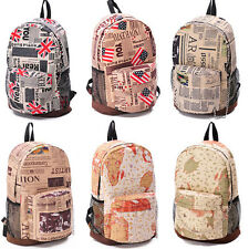 New Backpack USA England UK Newspaper Map Book Bag Satchel School Sport Rucksack
