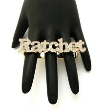 New Celebrity Style Iced Out RATCHET Piece Fashion TWO Finger Ring FHYRI1