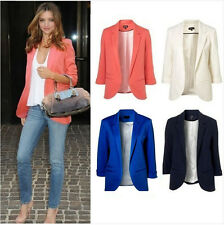 New Womens Fashion Candy Color Seventh Volume Sleeve Jacket Blazer 12  Colors