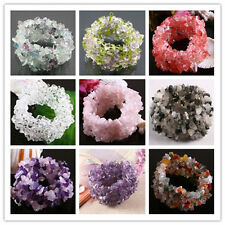 Natural Crystal Quartz Gemstone Stone Chips Beads Bangle Bracelet Stretchy Cuff