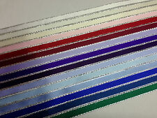 10 metres of 10mm Double Faced Satin Ribbon with Silver Lurex Edge