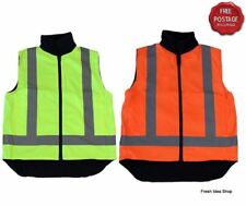 Adult Hi Vis Reversible Polar Fleece Safety Vest Work Wear w/ Reflective Tape