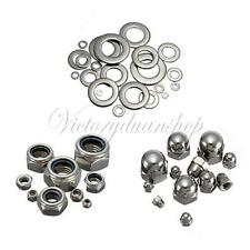 10pcs A2 Stainless Steel Dome Hex Nylon Nuts Bolts Flat Washer Repair Tool Kit