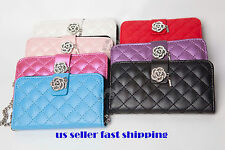 KOREAN-STYLE QUILTED EATHER WRISTLET CASE IPHONE 4/4S/5 SAMSUNG S III IV NOTE II