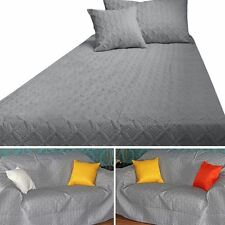 Grey Quilted Bedspread Throws & Filled Cushion Covers Large Small Blanket Bed