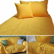 Yellow Quilted Bedspread Throws & Filled Cushion Covers Large Small Blanket Bed