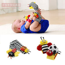 Baby Soft Rattle Toy Colorful Lamaze Plush Crinkle Wrist Rattle Foot Finder Sock