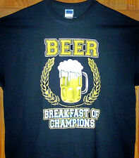 BEER ... BREAKFAST OF CHAMPIONS T Shirt Black Sz Sm - 6XL   Great Party Tee