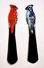 "Hand Painted Red Male Cardinal Bird Shoehorn Shoe Horn 10"" T55C"