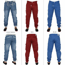 BNWT ENZO MENS CUFFED JOGGER JEANS PANTS WAIST SIZE 32 34 36 38 40 42 44 46 48