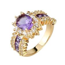 18K Rose Gold GP Round Amethyst Stone Cathedral Setting Ring