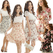Fashion Korean Chiffon Tunic Lace Gauze Floral Long Sleeve Mini Dress