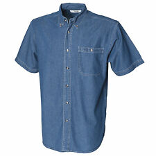 (Free PnP) Front Row Mens Short Sleeve Casual Denim Shirt Sizes S-2XL