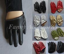 Men's Half Hand Palm Faux Leather Rock Costume Driving Gloves