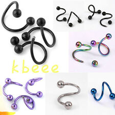 Punk Stainless Steel Spiral Flexo Twister Earring Bar Ear Stud Piercing 16G