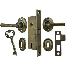 Narrow Lock Set with Lever Handles for Small Backset Doors (L79SET-1PB)