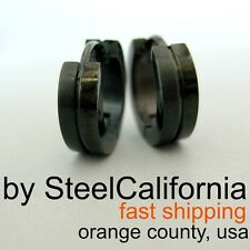 Mens Earrings Black Huggie Hoops (Size M, L, XL) HalfHalf Design