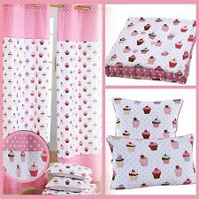 Cup Cakes Cotton Curtains & Filled Cushions Covers Large Small Pink White Polka