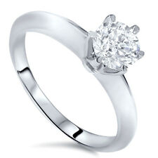 Real 1/2CT Diamond Solitaire Engagement Ring Knife Edge Round Cut 14K White Gold