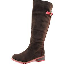 Womens Boots Brown Faux Suede Knee High Cowboy Motorcycle Riding LE-15 Sz 5-10