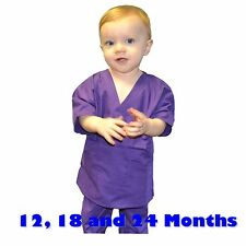 Toddler Scrubs Set REAL Purple Childrens Doctor and Nurse Kids Scrub Sets