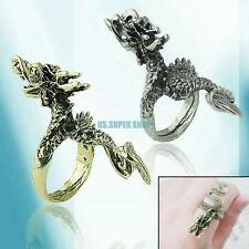 Gothic Punk Rock Vintage Retro Antique China Dragon Shape Ring Bronze Silver
