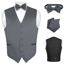 Men's Dress Vest BOWTie CHARCOAL GREY Bow Tie Set for Suit or Tuxedo