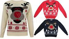 Childrens Kids Christmas Jumper Knitted Choccy Reindeer Rudolph Xmas Boys Girls