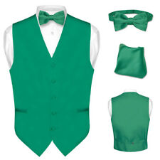 Men's Dress Vest BOWTie EMERALD GREEN Bow Tie Set for Suit or Tuxedo