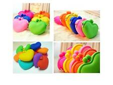 Cute Womens Girls Candy Color Silicone Heart Wallet Key Coin Purse Rubber Case