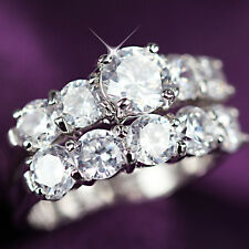 18K GOLD GF R261 6CT 3WAY WEDDING DIAMONDS CHANNEL SOLID RING SET MUM XMAS GIFT