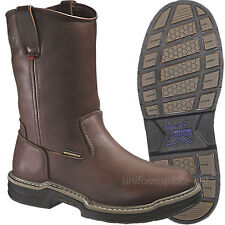 Wolverine Boots MultiShox Steel-Toe Waterproof W04826 Wellington Brown Leather