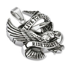 "Stainless Steel ""Live to Ride Ride to Live"" Eagle Biker Pendant w/Necklace"