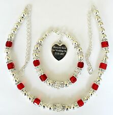 LADIES FRIENDS MOTHER BRIDE ENGRAVED PERSONALISED NECKLACE AND BRACELET SET RED