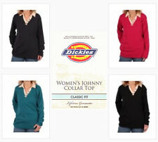 Womans Dickies Long Sleeve Johnny Collar Shirt choose Size XS - 2X and Color NWT