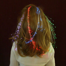 LOT OF 3 GREEN GLOWBYS ST PATRICK DAY FIBER OPTIC HAIR EXTENSION PARTY FREE SHIP