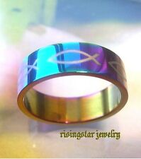 Men's Lustrous Christian Ichthus Fish Stainless Steel Fashion Ring 8, 9, 10, 11