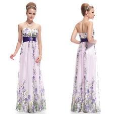 Printed Strapless Rhinestones Ruched Waist Chiffon Maxi Long Party Dress 08007