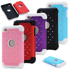New Hybrid Rugged Rubber Bling Crystal Hard Case Cover for Apple iPod Touch 4