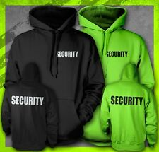 SECURITY EVENT STAFF BOUNCER CLUB TEE DOUBLE PRINT SAFETY GREEN BLACK HOODIE