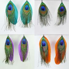 Peacock Feather Dangle Earrings, Teal Green OR Purple