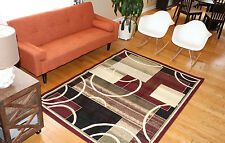 New Area Rug Burgundy Modern Squares Circles Fast Shipping Generations 8007